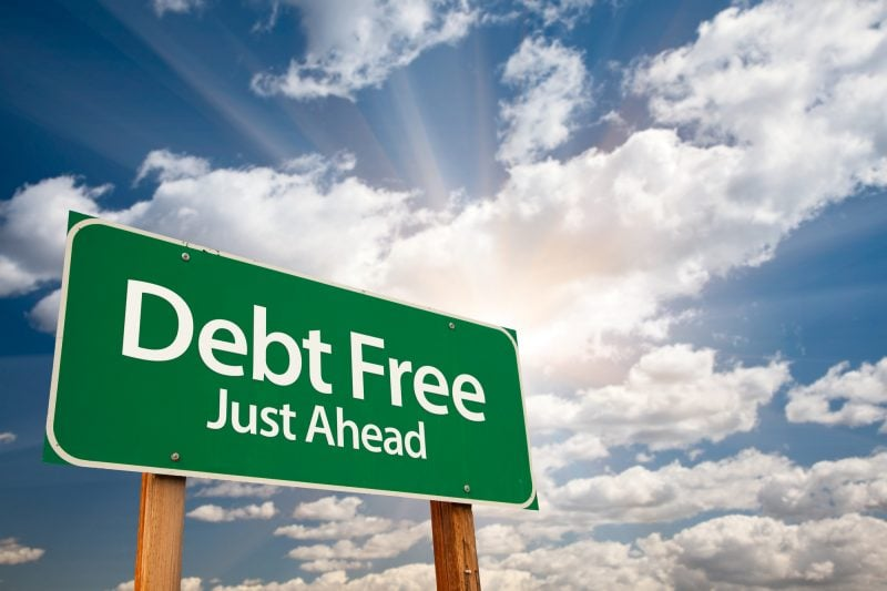 being debt free is a stone throw away